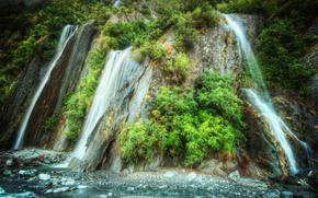 водопад, водопады, природа, пейзаж, растительность, лето