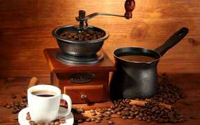 coffee, Turk, coffee mill, cup, coffee beans, drink