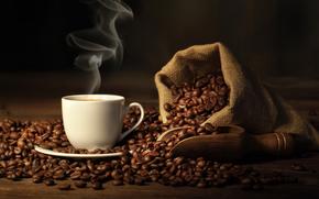咖啡, 杯, 咖啡豆, 喝, 袋, 铲