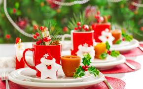 La mesa de Año Nuevo, vajilla, fiesta