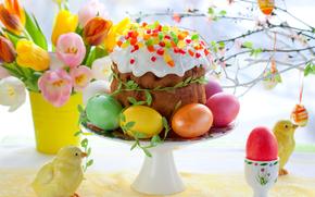 Torta di Pasqua, uova, Fiori