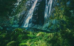 Montañas, cascada, paisaje, naturaleza, VEGETACIÓN