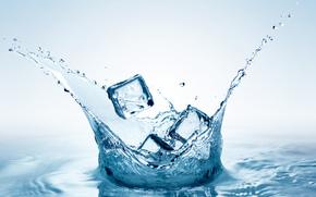 ice, cubes, Ice, water, spray