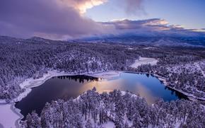 Goldwater Lake, Prescott, Arizona, Goldwater Lake, Prescott, Arizona, lago, inverno, foresta, alberi, cielo, nuvole, panorama