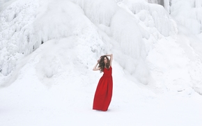 girl, pose, Red Dress, dress, winter, snow