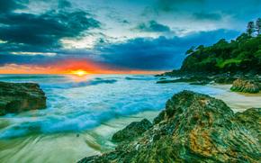 tramonto, mare, puntellare, Rocce, paesaggio