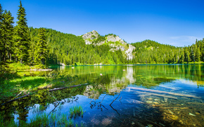 Mirror Lake, Yosemite National Park, California, Sierra Nevada, Yosemite National Park, Yosemite, California, Sierra Nevada, lake, Mountains, forest, trees, reflection
