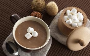 cup, drink, cocoa, sugar-bowl, sugar