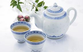 cups, drink, tea, kettle