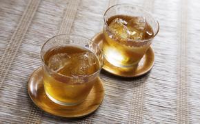 cups, drink, tea, ice