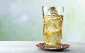 стакан, напиток, чай, лед