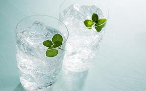 beber, gelo, óculos, hortelã