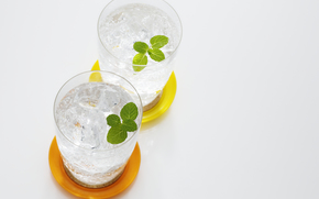 drink, ice, glasses, mint