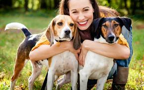 собака, собаки, животные, девушка, друзья