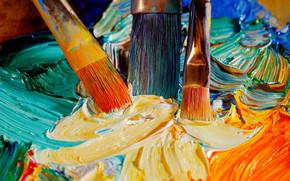 канцелярские принадлежности, для художников, краски, оттенки, цвет, кисточки, масло, мазки, палитра