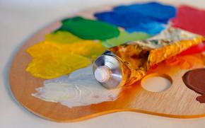 канцелярские принадлежности, для художников, краски, оттенки, цвет, тюбик, масло, палитра
