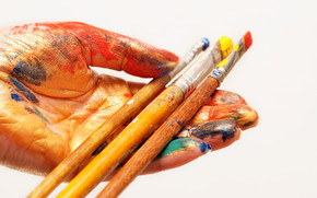 Stationery, for artists, paints, shades, COLOR, brush, oil, hand