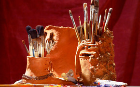 Stationery, for artists, paints, shades, COLOR, brush, oil, coasters, ceramics