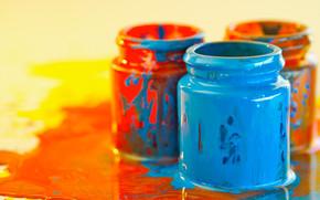 канцелярские принадлежности, для художников, краски, цвет, разводы, баночки, творчество