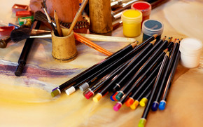 Stationery, for artists, paints, COLOR, brush, Pencils, cans, creation