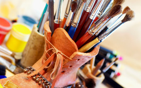 Stationery, for artists, paints, COLOR, brush, Stand, cans, creation