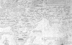 Old maps, navigation, Composed in the distant past, soaked in salty wind seas and oceans