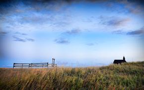 field, sky, clouds, cabin, nature, landscape, fencing