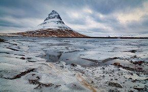 Mountains, pond, clouds, gloomily, ice, snow, winter, landscape, nature