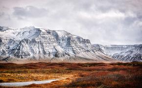 Mountains, field, clouds, sky, overcast, snow, landscape, nature