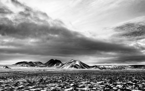 Mountains, field, sky, clouds, black and white, Mono, landscape, nature