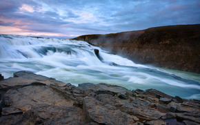 водопад, камни, небо, пейзаж, природа