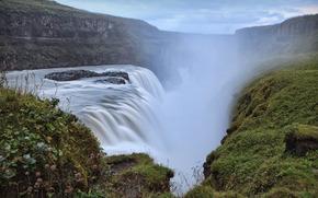 wodospad, Góry, niebo, krajobraz, charakter