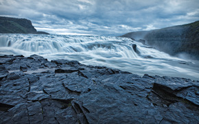 wodospad, kamienie, niebo, krajobraz, charakter