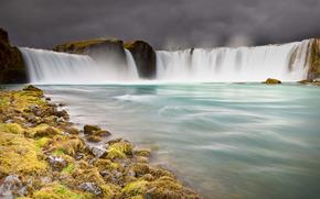 wodospad, staw, niebo, krajobraz, charakter