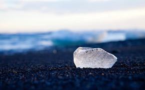 ice, shore, pond, nature, winter