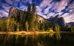 Mountains, forest, sun, sky, clouds, landscape, nature, pond