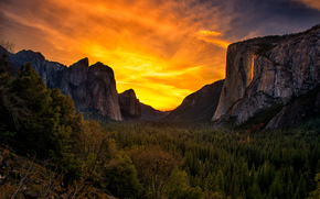 Mountains, forest, sun, sky, clouds, landscape, nature, sunset
