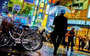 città, megalopoli, Giappone, Tokyo, persone, pubblicità, costruzione
