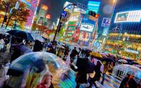 город, мегаполис, Япония, Токио, люди, реклама, здания, зонты, дождь