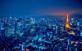 city, megalopolis, Japan, Tokyo, night, Skyscrapers, High-rise buildings