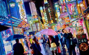 город, мегаполис, Япония, Токио, люди, реклама, здания