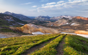 Kamchatka, Russia, Mountains, field, road, SPRING, landscape, nature