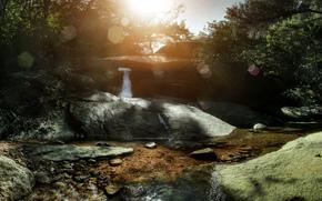 cascade, cascades, nature, paysage, étang