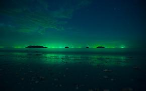 northern lights, Polar Lights, sky, Star, shore, sea, night