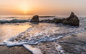 mer, noyaux, ondulations, soleil, paysage, nature