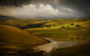 горы, холмы, тучи, река, провинция, пейзаж, природа