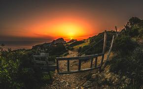 shore, pond, sun, sunset, fencing