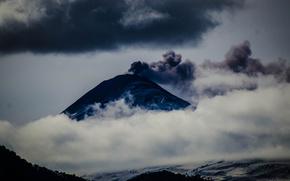 Montañas, niebla, nubes, melancólicamente, superior
