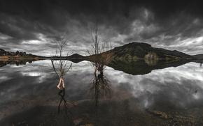Montagne, pond, cielo, riflessione, natura