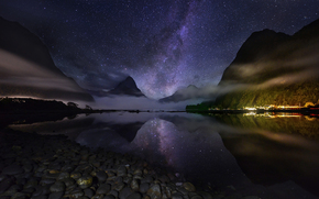 Mountains, pond, night, Star, reflection